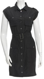 Burberry short dress Black, Gold Hardware Belted on Tradesy