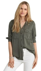American Eagle Outfitters Military Button Down Shirt Army Green