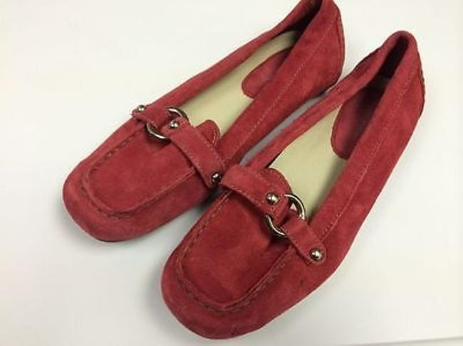 Item - Pink Suede Oxford Loafer Moccasin Silver Ring Guc B1851