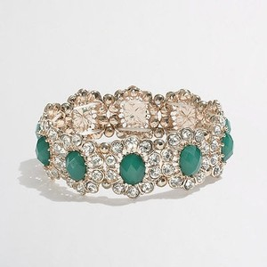 J.Crew J.crew Factory Crystal Daisy Stretch Bracelet Item A0314 Green