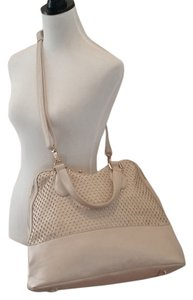 Urban Expressions Laser Cut Certified Vegan Leather Carry Tote in Cream