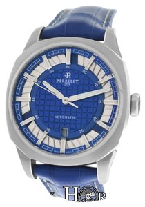 Perrelet New Men's Perrelet A1061 Double Rotor Date Automatic Steel Watch
