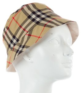 Burberry Tan, red, black multicolor Nova check plaid print Burberry bucket hat