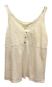 Eileen Fisher Knit Sleeveless 100% Linen Top Cream