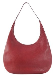Hermès Red Dark Red Clemence Hobo Bag