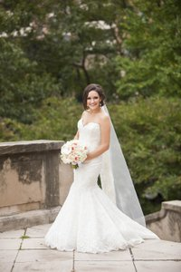 Enzoani Beaded Scalloped Lace Mermaid Gown Wedding Dress