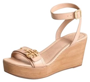 Tory Burch Elina Logo Sandal Royal Tan Wedges