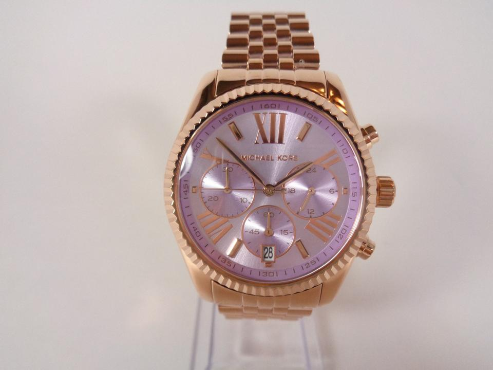 dc5b38a8ae00 Michael Kors Michael Kors MK6207 Women s Lexington Purple Dial Rose Gold  tone Watch NEW!  250. 123456789