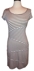 Max Studio short dress Tan White Edition Stripe Size M on Tradesy