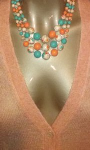 Peach and Aqua 3 Strand Necklace