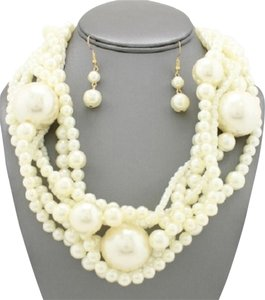 Other Multistrand Twisted Chunky Pearl Necklace and Earrings