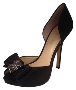 Enzo Angiolini Satin High Heels Crystal Peep Toe Black Formal