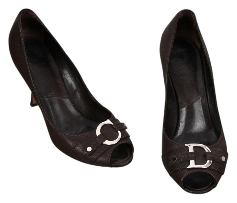 Dior Brown Silver Christian Leather Open Toe Silver Brown Hw Heel 38.5 Pumps 529686