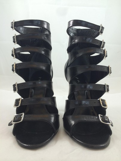 Phi Buckle High Gladiator Stiletto Black Pumps