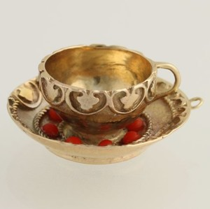 Teacup Charm - Gold Filled Simulated Coral Tea Party Collectible Polished