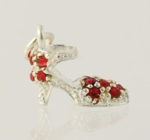Rhinestone High Heel Shoe Charm - 925 Sterling Silver Pendant Dangle Red