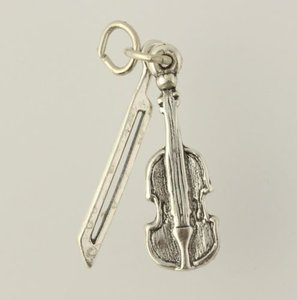 Violin Bow Charm Classical Music 925 Sterling Silver Orchestra Pendant Dangle