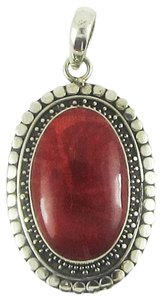 Island Silversmith Island Silversmith Red Coral .925 Sterling Silver Tribal Pendant 0301C *FREE SHIPPING*