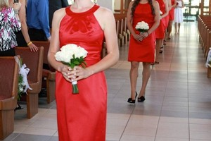 David's Bridal Red F13277 Dress