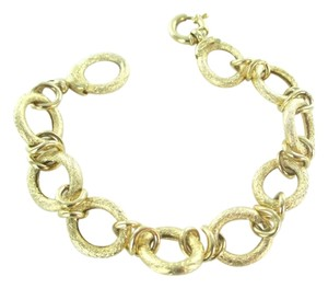 14KT YELLOW GOLD BANGLE BRACELET OVAL LINKS BRUSHED NO SCRAP ITAOR ITALY 11.9G