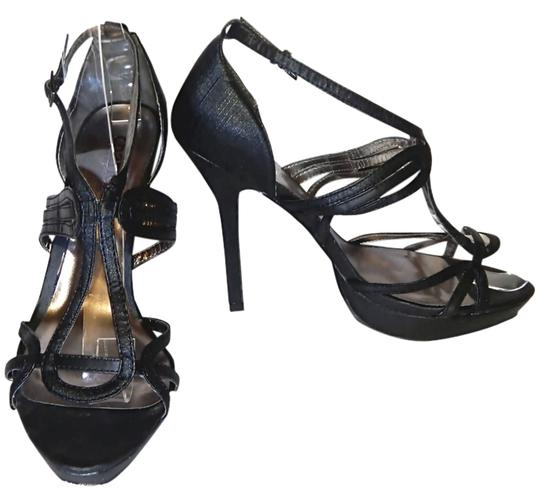 Charles by Charles David Satin T-strap Textured Platform Strappy Black Sandals