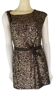 Etcetera Sequin Belt Gold Mini Tunic Asymmetrical Dress
