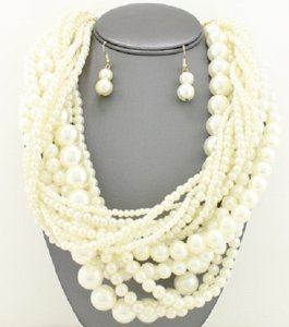 Multistrand Pearl Statement Necklace And Earrings