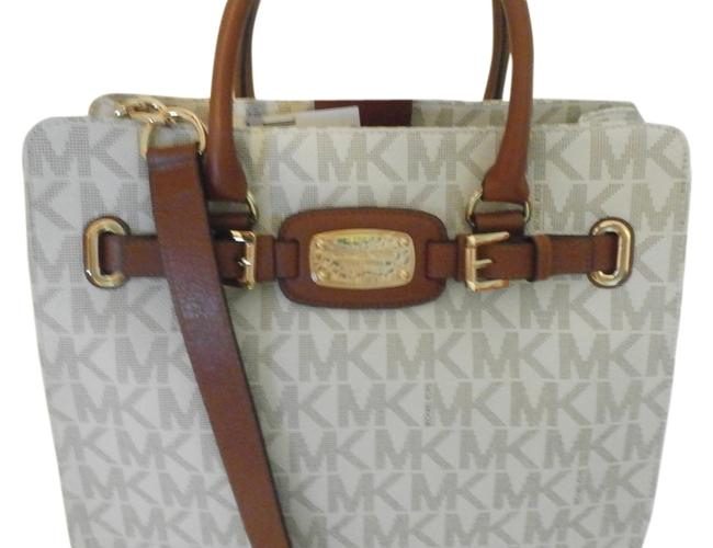 Item - New Hamilton Large Ns 35h1ghmt7b White/Brown Patent Leather Tote