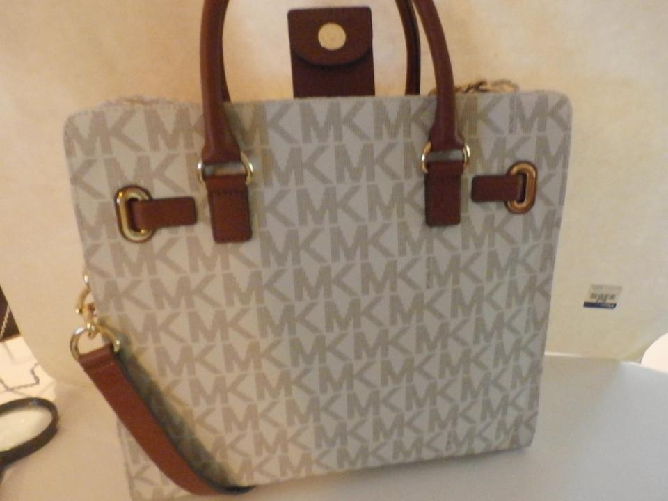 Michael Kors New Hamilton Large Ns 35h1ghmt7b White Brown Patent Leather Tote Tradesy
