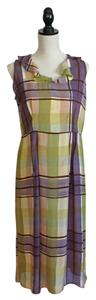 Purple, Yellow, Green and Brown Plaid Maxi Dress by Toots Pierre