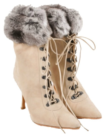 Manolo Blahnik Suede Fur Lace Up Gray Beige Cement Ivory Gunmetal Silver White Ivory Boots