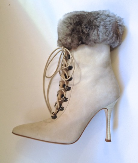 Manolo Blahnik Suede Fur Lace Up Stiletto Gray Beige Cement Ivory Gunmetal Silver White Ivory Boots