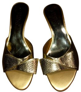 Franco Sarto Metallic Bow Snakeskin Summer Gold Sandals