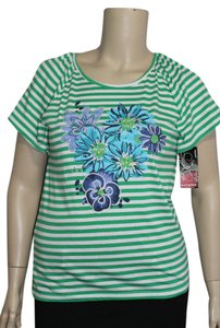 Ava & Grace Top Green/White