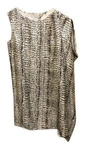 Ports 1961 short dress Cream Brown Silk Size 8 on Tradesy