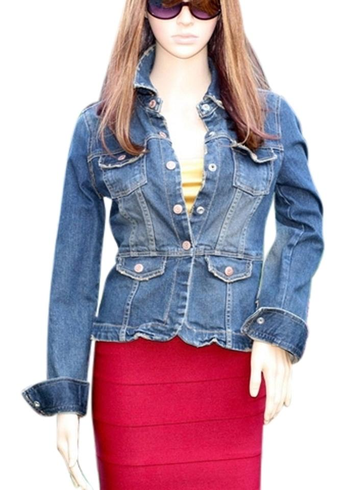 Old Navy Blue Distressed Denim Jacket Size 4 (S) - Tradesy