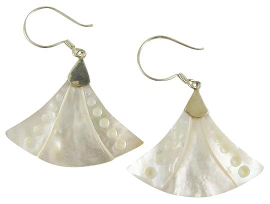 Island Silversmith Island Silversmith Hand-carved Mother of Pearl .925 Silver Chandelier Earrings 0401B *FREE SHIPPING*