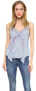 Rebecca Taylor Ditsy Tulip Sleeveless Sea Salt Top LIGHT BLUE PRINT WITH PINK