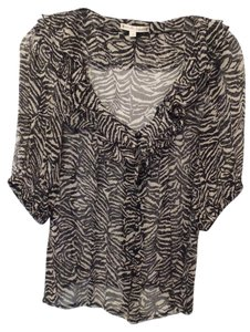 Nanette Lepore Silk Peasant Anthropologie Ruffle Chiffon Silk Top Black and off-white