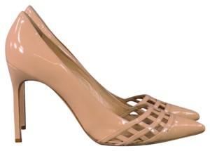 Manolo Blahnik Cage Patent Leather Nude Peach Pumps
