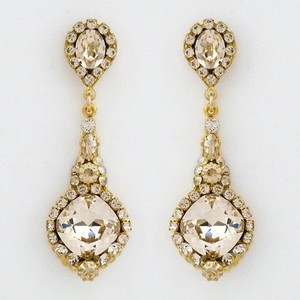 Perfect Details Gold Drop Champagne Crystal Earrings