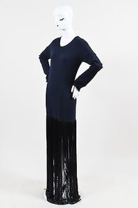 Blue Maxi Dress by Céline Navy Black Wool Fringe Long Sleeve