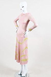 Multi-Color Maxi Dress by Dior Christian Pink Beige Patterned Ls Maxi
