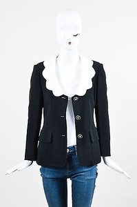 Moschino Moschino Cheap And Chic Black White Scalloped Collar Long Sleeve Blazer