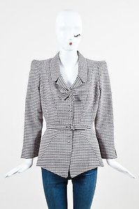 Thierry Mugler Thierry Mugler Black Pale Pink Wool Plaid Check Belted Bow Peplum Jacket