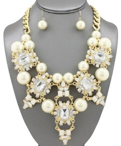 Shourouk Style Statement Pearl Necklace and Earrings