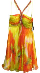 Jovani Silk Nwt Bright Print Beaded Dress