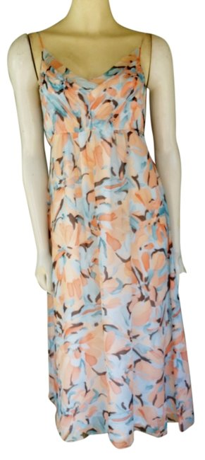 Item - Peach Aqua Abstract Floral Print Crinkled Silk Tie Backs New Mid-length Short Casual Dress Size 4 (S)