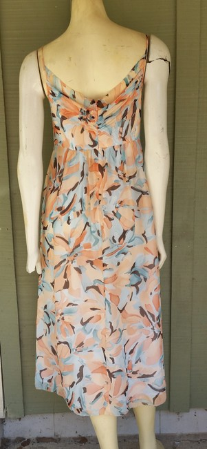 Anne Klein short dress Peach Crinkled Silk Tie Backs Aqua Spaghetti Straps on Tradesy