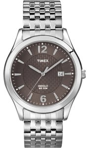 Timex Timex T2N848 Men's Silver Analog Watch With Black Dial